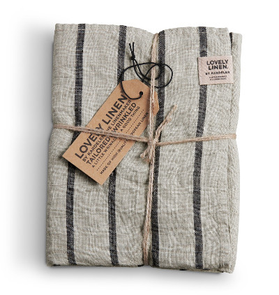 Stoffserviette von Lovely Linen in sand-graphit gestreift
