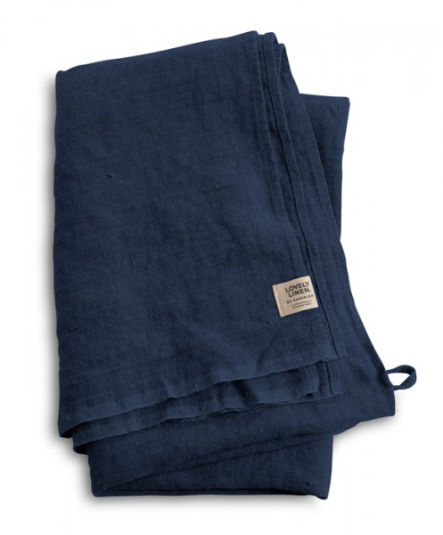 Hamam Leinen Badetuch von Lovely Linen in midnight blue