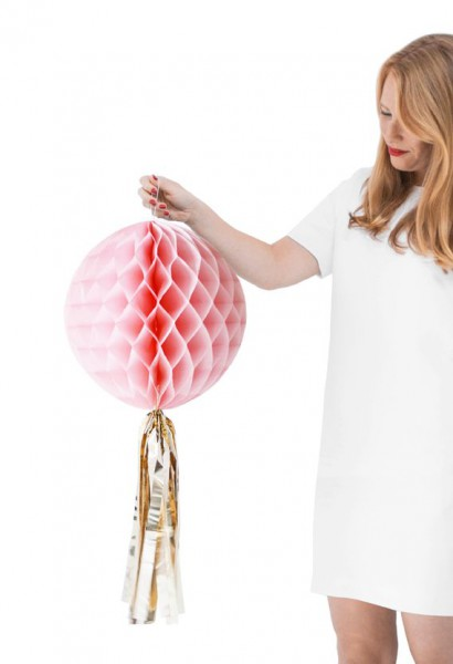 WHITE GOLD HONEYCOMB BALL mit goldener Quaste (rosa) women