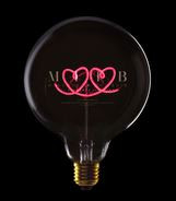 MITB, deco table lamp,double-heart, red, smoke