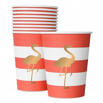 Party Getränkebecher Flamingo Cups, gesapelt